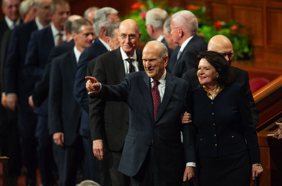 (Keith Johnson | Special to The Tribune) President Russell M. Nelson and his wife, Wendy, wave to the congregation at the conclusion of the 188th Semiannual General Conference of The Church of Jesus Christ of Latter-day Saints on Oct. 7, 2018, in Salt Lake City.