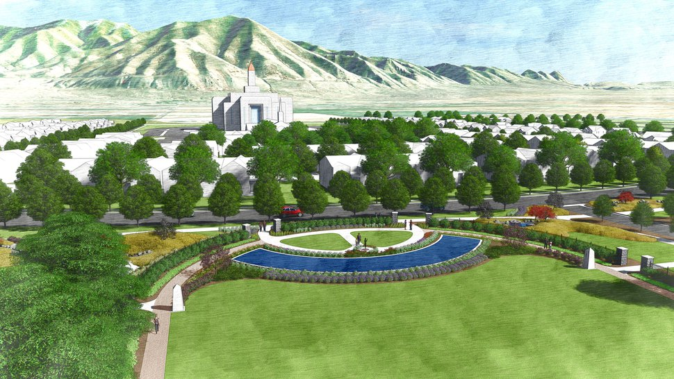 (Rendering courtesy of The Church of Jesus Christ of Latter-day Saints) This is an artist's rendering of a portion of the planned residential community near the site of the Tooele Valley Temple. The church has backed away from plans for high-density housing.