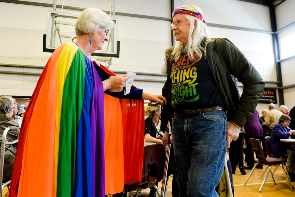 Leah Hogsten | The Salt Lake Tribune l-r We're showing solidarity for all God's people, said Lynne Barrett, admiring the fashion statement of fellow church member Jon Jolley. Rev. Rusty Butler and the congregation at Christ United Methodist Church were awash in rainbows during Sunday services, March 3, 2019 in a show of solidarity for its LGBTQ members. Last week in St. Louis, international delegates for the UMC voted to continue the faith's ban on same-sex weddings and ordination of LGBTQ clergy. Many pastors and congregations in Utah and the U.S. were disappointed by the vote, which could ultimately cause a split in the ranks.