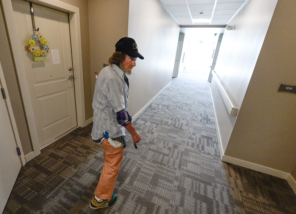 (Francisco Kjolseth | The Salt Lake Tribune) Richard Dornik, 74, who used to be homeless in Salt Lake walks to his one bedroom place at Sharon Gardens Apartments in South Salt Lake, where he has lived for the last year and a half. Out of the 58 one bedroom units provided, 45 are for low income people with the 13 remaining at the market rate cost in an effort to help find solutions to the homeless problem. As three homeless resource centers come online to replace the existing downtown community shelter, which is slated for closure in September of 2019, community leaders are encouraging Salt Lake area landlords to making units available to people who have been homeless in an effort to move people into stable housing.