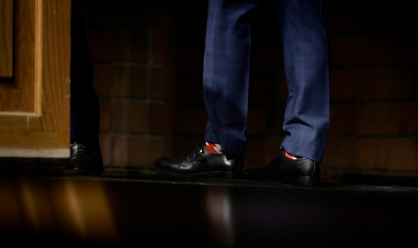 Scott Sommerdorf | The Salt Lake Tribune Candidate John Curtis made a point of showing off his American flag socks prior to speaking at the Republican Special Convention for Utah Congressional District 3 to choose the candidate to replace Congressman Jason Chaffetz, held at Timpview High School, Saturday, June 17, 2017.