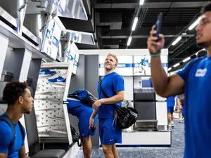 (Nate Edwards | BYU) BYU players tour the newly renovated locker room, Monday, June 18, 2021.