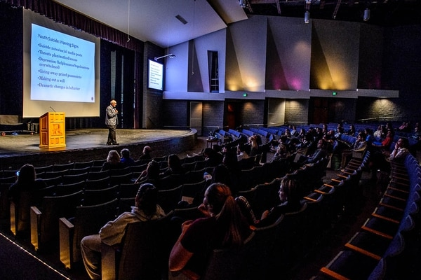 (Trent Nelson | The Salt Lake Tribune) Scott Poland speaks at Riverton High School, Monday, April 16, 2018. Jordan School District offered educational information meetings and trainings led by Poland, a national suicide prevention expert and certified school psychologist, to students, staff and parents districtwide.