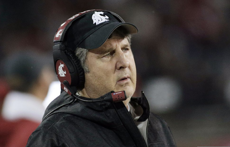 (Young Kwak | AP file photo) Washington State head coach Mike Leach watches during the second half of an NCAA college football game against California in Pullman, Wash., on Nov. 3, 2018.