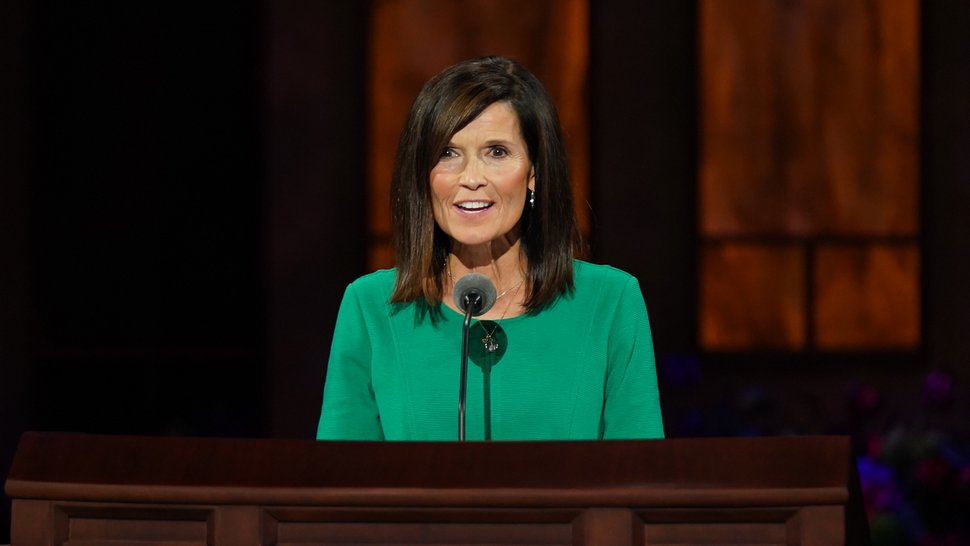 (Photo courtesy of The Church of Jesus Christ of Latter-day Saints) Rebecca M. Craven of the general Young Women presidency speaks at the women's session Saturday, Oct. 3, 2020.