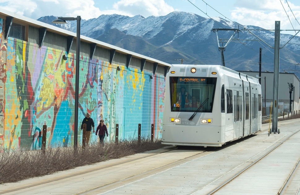 (Rick Egan | The Salt Lake Tribune) The S-Line Sugar House Streetcar makes it's way done the new double-track real line, Friday, April 5, 2019.