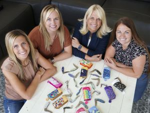(Leah Hogsten | The Salt Lake Tribune) Diane Carver and her three daughters, from left, Kimi Jensen, Kristy McClellan and Katie Mecham design and sell pocket knives for women under the name Brighten Blades, Aug. 26, 2021.