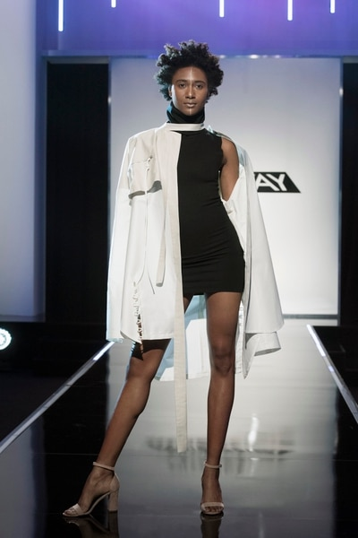 "(Photo courtesy of Barbara Nitke/Lifetime) Brandon Kee's final design for the third challenge of ""Project Runway's"" Season 16. He won this challenge."