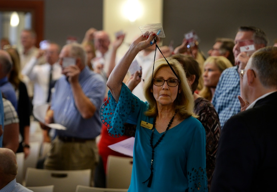 (Scott Sommerdorf | The Salt Lake Tribune) Utah Republican Party Central Committee members vote overwhelmingly to adjourn a meeting that got off to a rocky start, and never got to the ongoing lawsuit against SB54, which was the main issue as the Utah Republican Party Central Committee met, Saturday, September 9, 2017.