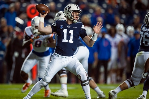 (Chris Detrick | The Salt Lake Tribune) Brigham Young Cougars quarterback Joe Critchlow (11) throws during the game LaVell Edwards Stadium Friday, October 6, 2017. Boise State Broncos defeated Brigham Young Cougars 24-7.