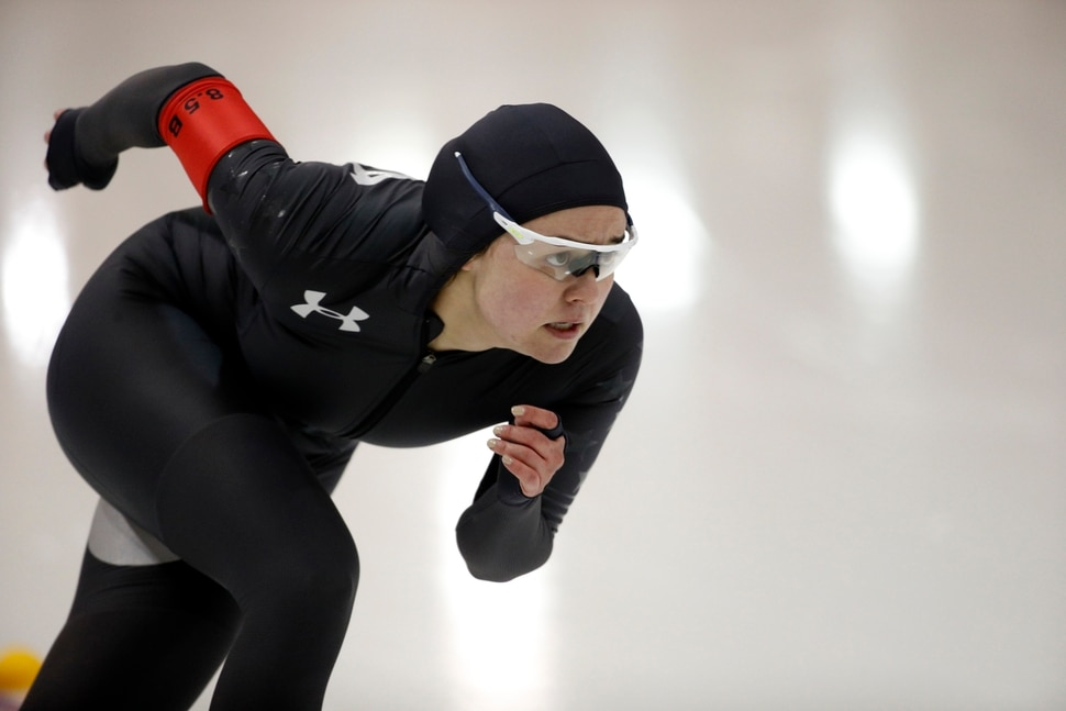 Jerica Tandiman competes in the women's 500 meters during the U.S. Olympic long track speedskating trials, Friday, Jan. 5, 2018, in Milwaukee. (AP Photo/John Locher)