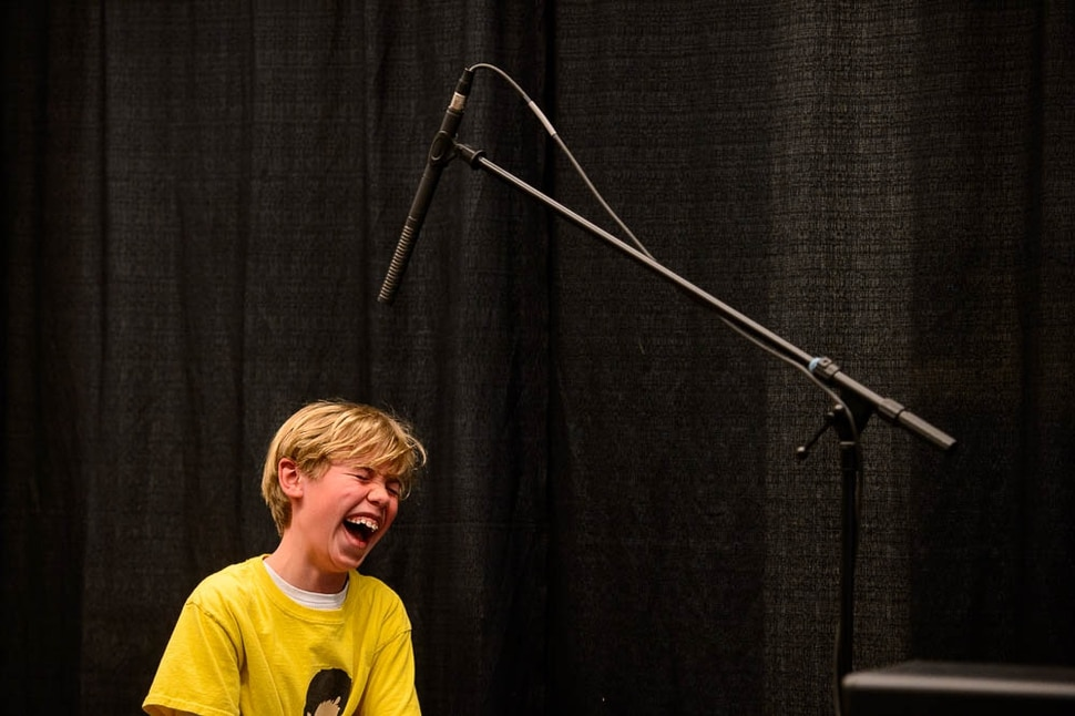 (Trent Nelson | The Salt Lake Tribune) Oliver Downen can't stop laughing as he's about to scream during a sound effects workshop at the Tumbleweeds Film Festival at The Leonardo Museum in Salt Lake City, Saturday March 3, 2018.