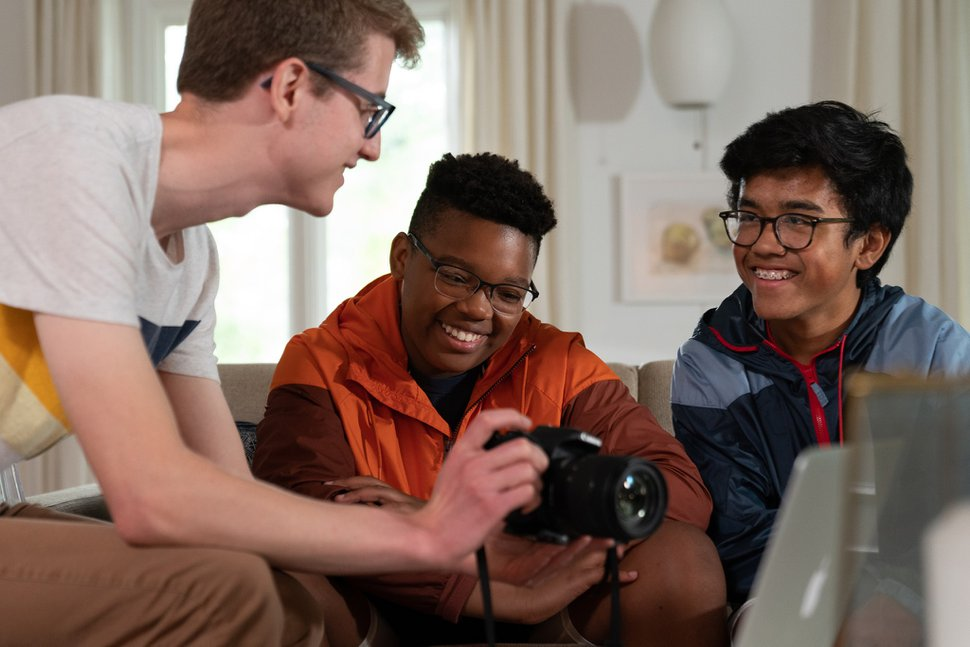 (Photo courtesy of The Church of Jesus Christ of Latter-day Saints) Young men in Ohio learn to make a film together. The church's new program for children and youths encourages personal development through gospel learning, service and activities, and personal development.
