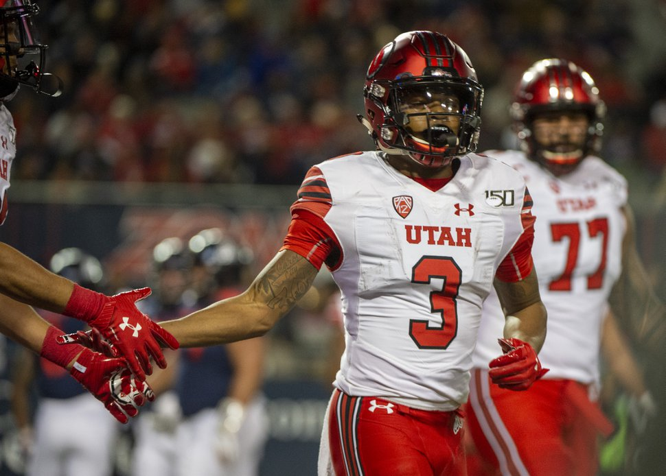 (Rick Egan | Tribune file photo) University of Utah receiver Demari Simpkins celebrates a touchdown catch in the team's 35-7 win against win at Arizona on Saturday, Nov. 23, 2019.