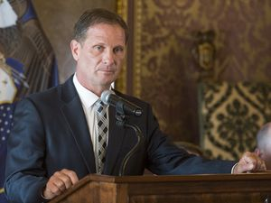 (Rick Egan  |  The Salt Lake Tribune)      U.S. Rep. Chris Stewart speaks during a news conference about the National Suicide Prevention Hotline Improvement Act being signed into law. Tuesday, Aug. 21, 2018.