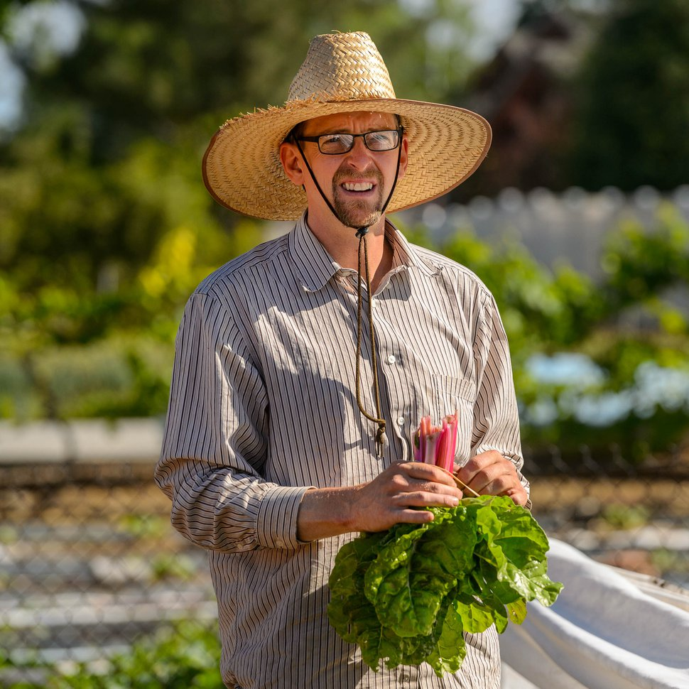 (Trent Nelson   The Salt Lake Tribune) Tyler Montague of Keep It Real Vegetables works in a Murray garden on Thursday, June 11, 2020. These urban farmers grow produce on several small garden plots in backyards around the valley.