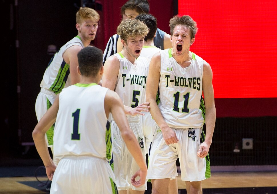 Scott Sommerdorf | The Salt Lake Tribune Timpanogos' Jacob Maddox yells after making a shot and getting fouled during first half play. Corner Canyon defeated Timpanogos 65-52 in a boy's 5A semi-final, FrIday, March. 2, 2018.
