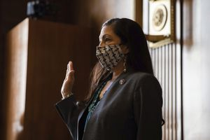 (Graeme Jennings | AP file photo) In this Feb. 23, 2021, photo, Rep. Deb Haaland, D-N.M., is sworn in during a Senate Committee on Energy and Natural Resources hearing on her nomination to be Interior secretary on Capitol Hill in Washington. She will be visiting Utah next week.