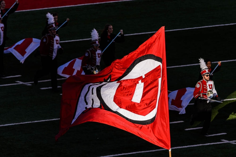 (Trent Nelson | The Salt Lake Tribune) The Marching Utes on the field as the University of Utah hosts Washington State, NCAA football in Salt Lake City, Saturday November 11, 2017.
