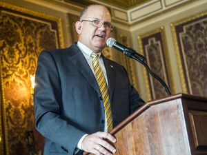 (Chris Detrick  |  Tribune file photo)  State Treasurer David Damschen speaks in the Gold Room of the Utah State Capitol on Jan. 13, 2016. Damschen stepped down as treasurer in April to be the CEO of the nonprofit Utah Housing Association, and eight people are in the running to replace him.