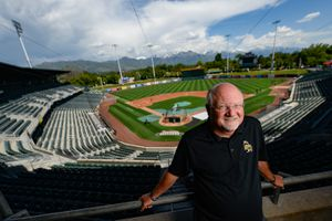 (Francisco Kjolseth  |  The Salt Lake Tribune)  Salt Lake Bees GM and president Marc Amicone poses for a photo in a suite at Smith's Ballpark on Tuesday, June 4, 2019, as he recalls great memories. The Bees are celebrating the 25th anniversary of the Ballpark, which opened in April 1994. Amicone is in his 15th year as GM of the Bees.