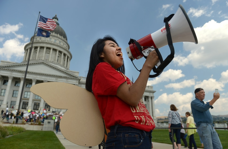 (Leah Hogsten | The Salt Lake Tribune) I am unafraid, said Ciriac Alvarez, a DACA dreamer and University of Utah graduate of Political Science and Sociology. Hundreds of We are Dreamers, a Utah pro-Deferred Action for Childhood Arrival (DACA) group, marched in solidarity from the Utah Federal Building to the State Capitol with undocumented immigrants who will be affected by the end of DACA.