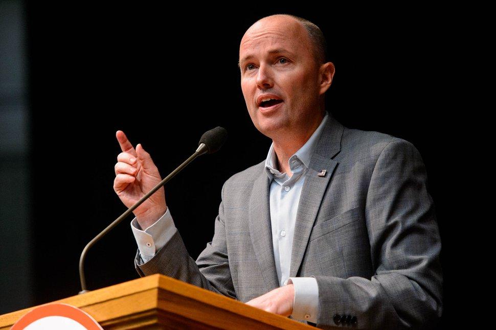 (Trent Nelson | The Salt Lake Tribune) Utah Lt. Gov. Spencer Cox at the Utah Republican Party's 2019 Organizing Convention at Utah Valley University in Orem on Saturday May 4, 2019.