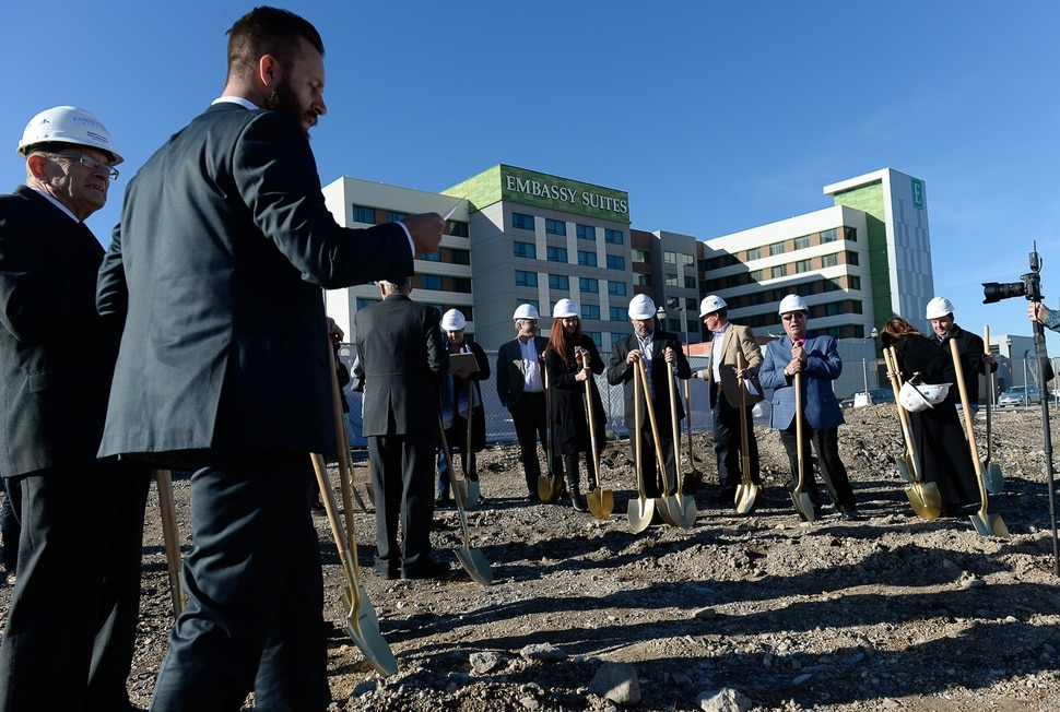 (Francisco Kjolseth | The Salt Lake Tribune) Wasatch Commercial Management gets ready to break ground Tuesday, Nov. 28, 2017, alongside developers, real estate brokers and state leaders in West Valley City for the state-of-the-art ÒFairbourne StationÓ that will serve as the cornerstone of the new downtown in UtahÕs second-largest and most diverse city.