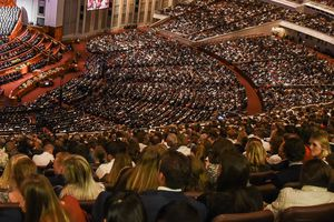 (Francisco Kjolseth  |  Salt Lake Tribune file photo)  General Conference will be all-virtual again this Easter weekend, unlike this packed session in October 2019. The statistical report for 2020 from The Church of Jesus Christ of Latter-day Saints is expected to show significant decreases in growth due to the pandemic.