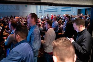 (Trent Nelson  |  The Salt Lake Tribune) An overflow crowd takes in a presentation at the Silicon Slopes Tech Summit in Salt Lake City on Thursday, Jan. 30, 2020. On Tuesday Silicon Slopes announced the creation of a new political action committee to give the tech sector greater influence in state politics.