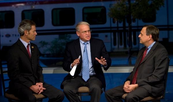 (Steve Griffin   The Salt Lake Tribune) KUTV's Rod Decker mediates a debate between Salt Lake City mayor candidates Ralph Becker (left) and Dave Buhler at the KUTV studios in Salt Lake City on Oct. 30, 2007.