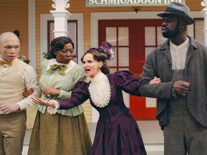 "(Apple TV+) Kristin Chenoweth, center, stars as the villain in ""Schmigadoon!"""