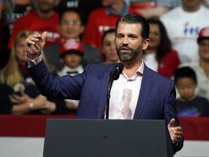 (Rick Scuteri | AP file photo) In this Feb. 19, 2020, photo, Donald Trump Jr. speaks at a rally before his dad, President Donald Trump, appears in Phoenix.