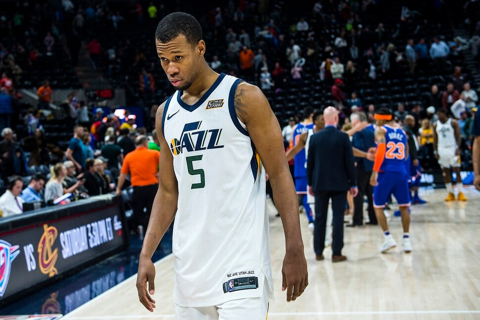 (Chris Detrick | The Salt Lake Tribune) Utah Jazz guard Rodney Hood (5) walks off of the court after the game at Vivint Smart Home Arena Saturday, January 20, 2018. New York Knicks defeated Utah Jazz 117-115.