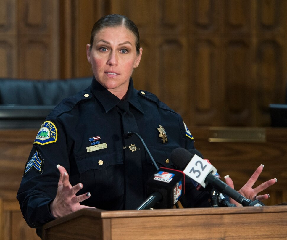 (Rick Egan | The Salt Lake Tribune) Provo police Sgt. Nisha King gives an update on the case of Elizabeth Elena Laguna-Salgado, at the Provo City Council chambers. Three years after her last known sighting in downtown Provo, Laguna-Salgado still remains missing. Friday, April 13, 2018.