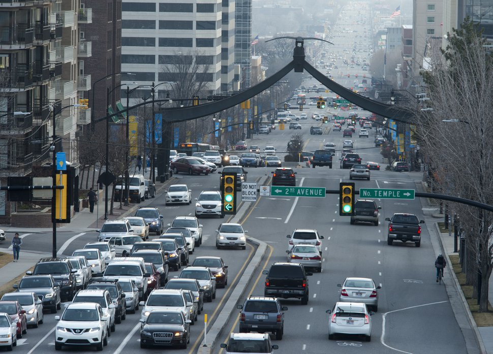 (Rick Egan | The Salt Lake Tribune) Traffic on State Street in Salt Lake City, Wednesday, January 17, 2018.