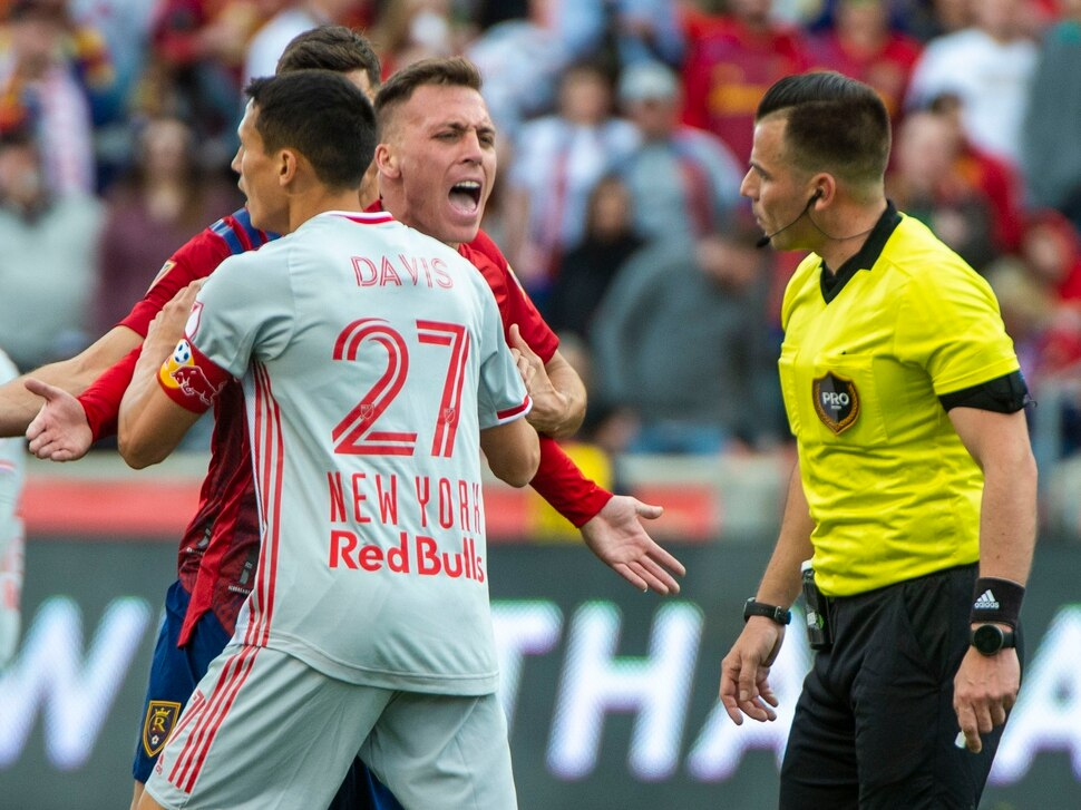 (Rick Egan   The Salt Lake Tribune) Real Salt Lake forward Corey Baird (10) is restrained by Real Salt Lake forward Julian Vazquez (27), as he pleads his case with the official, in MLS acton between Real Salt Lake and the New York Red Bulls at Rio Tinto Stadium, Saturday, March 7, 2020.