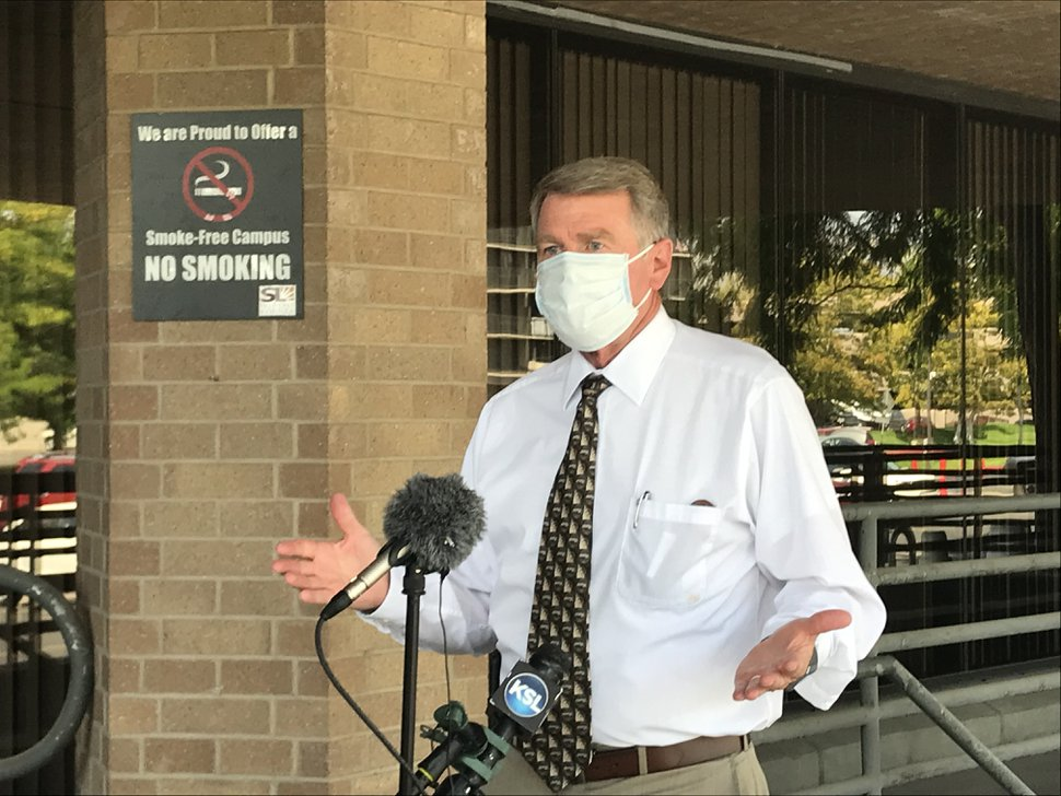 (Photo by Nate Carlisle | Salt Lake Tribune) Salt Lake County Health Department Executive Director Gary Edwards talks outside the county government center on Aug. 19, 2020, about the decision to extend the county's mask mandate through the remainder of the year.