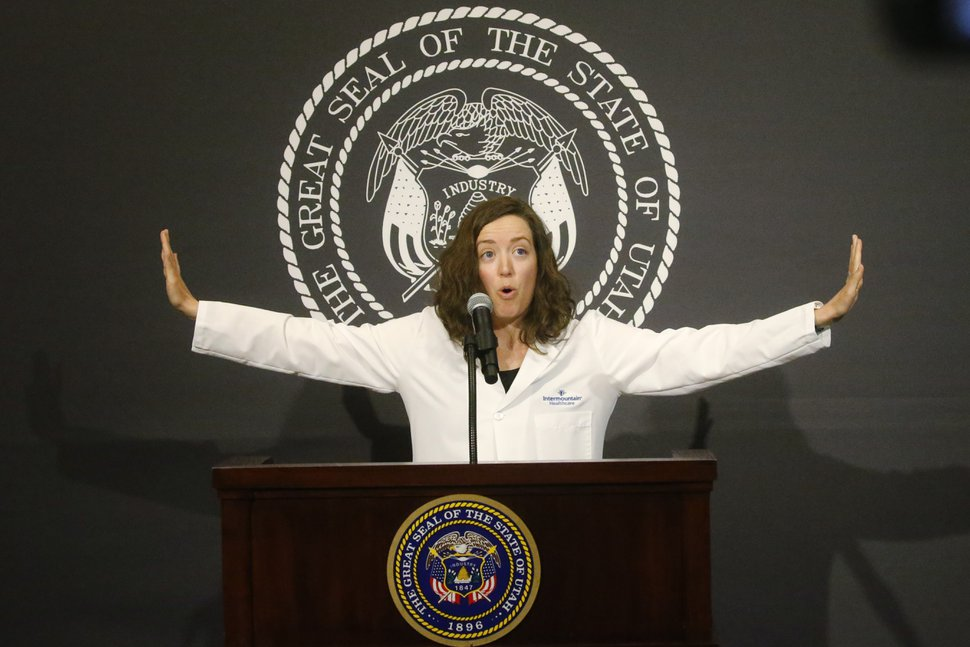 (Rick Bowmer | AP, pool) Dr. Tamara Moores Todd, Intermountain Healthcare, speaks during a Spanish language briefing on the state's efforts to fight COVID-19, Thursday, June 25, 2020, at the Utah State Capitol, in Salt Lake City.