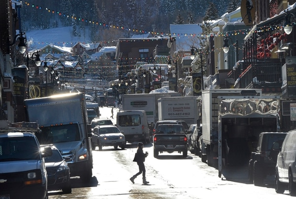Scott Sommerdorf | The Salt Lake Tribune Delivery trucks and visitors made for crowded energy on Main Street in Park City prior to the beginning of the Sundance Film Festival, Wednesday, January 18, 2017.
