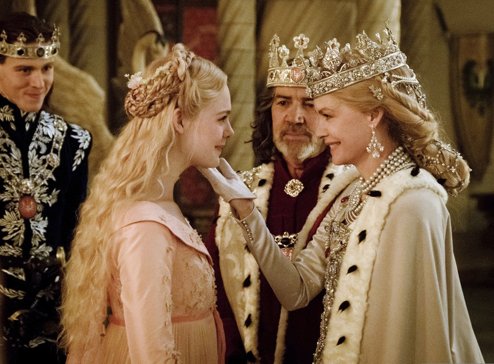 (Photo courtesy of Disney) Harris Dickinson as Prince Philip, left, Elle Fanning as Princess Aurora, Robert Lindsey as King John, and Michelle Pfeiffer as Queen Ingrith, in Disney's fairy-tale sequel