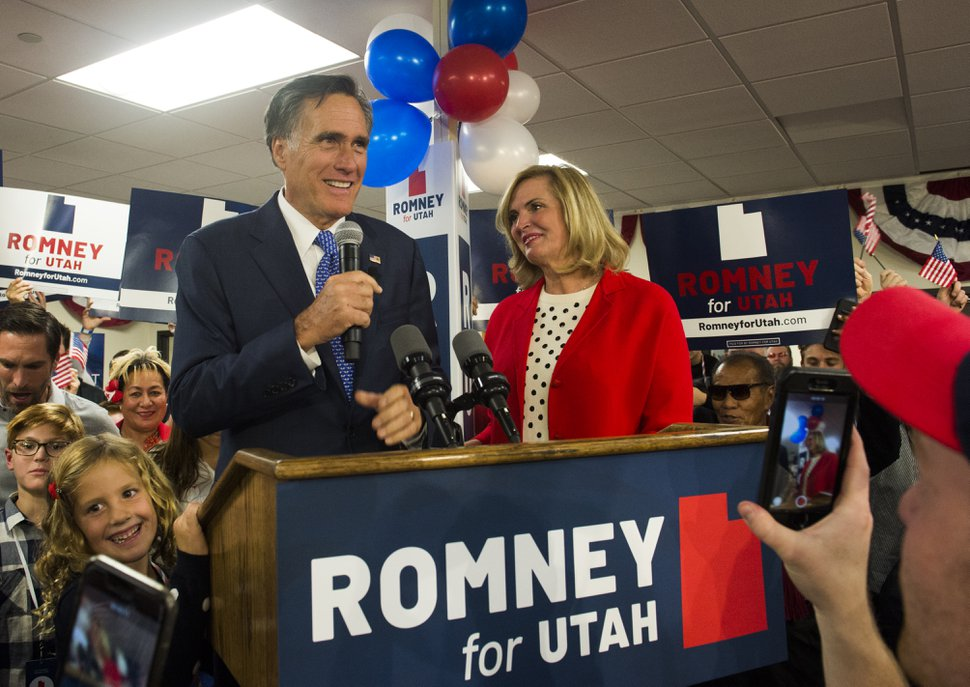 (Rick Egan | The Salt Lake Tribune) Mitt Romney gives his victory speech, at the Romney headquarters in Orem on election night, Tuesday, Nov. 6, 2018.