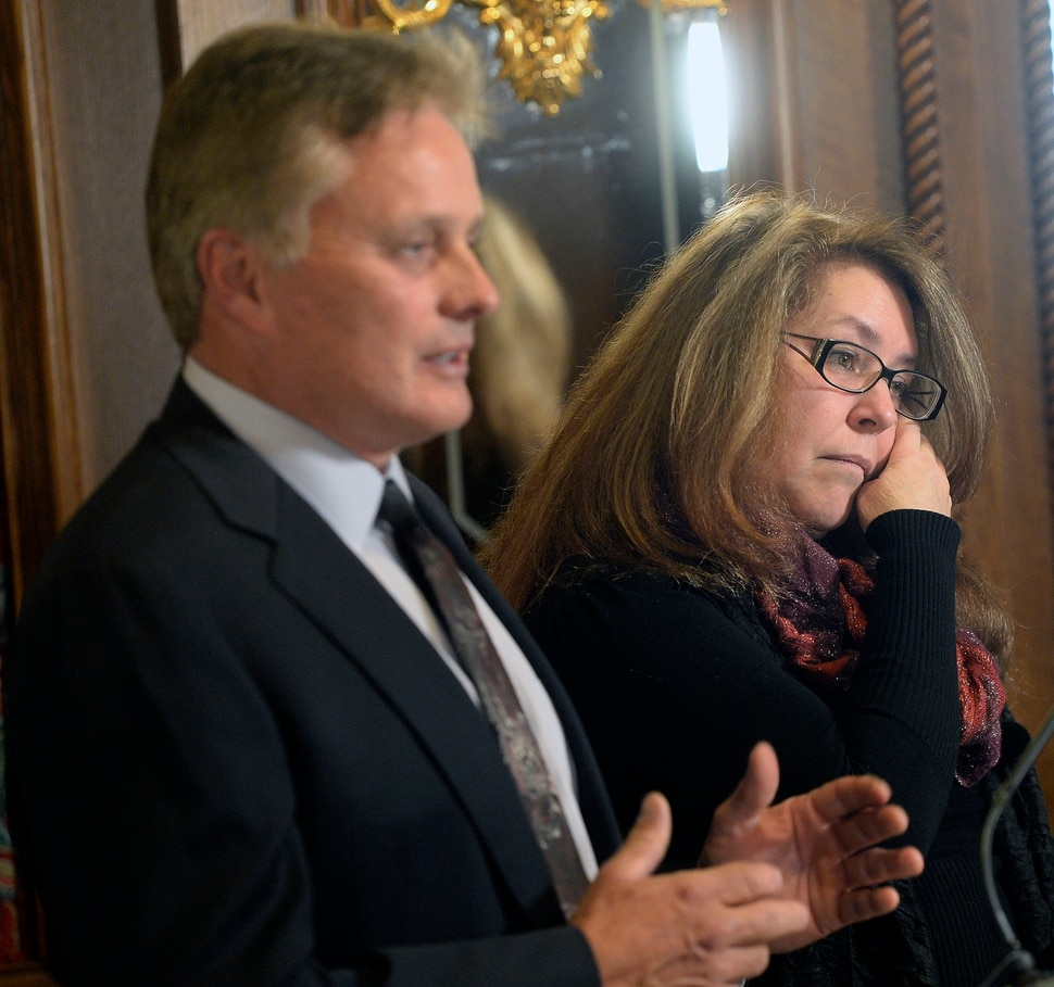 (Al Hartmann | The Salt Lake Tribune) Lawyer Tad Draper, left, is filing a federal lawsuit for Cynthia Stella over the death of her daughter, Heather Ashton Miller at the Davis County jail. Miller was arrested early Dec. 20, 2016, on charges related to possession of drug paraphernalia and heroin, held in the Davis County jail less than two days before suffering an injury to her spleen that led to her death in the McKay-Dee Hospital in Ogden.