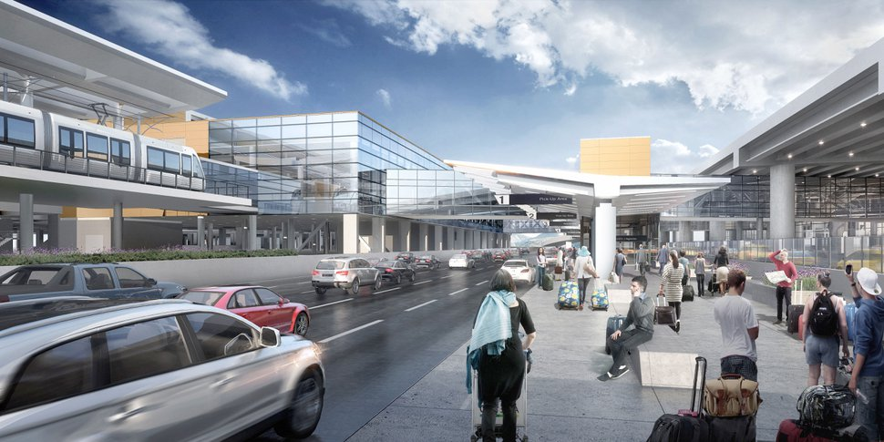 (Courtesy of Salt Lake City International Airport) A rendering of the terminal roadway at a rebuilt airport, with a Utah Transit Authority TRAX train pulling into the airport's