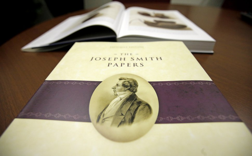 The third volume of the Joseph Smith Papers, which includes the printer's manuscript of the Book of Mormon is shown following a news conference Tuesday, Aug. 4, 2015, in Salt Lake City. (AP Photo/Rick Bowmer)