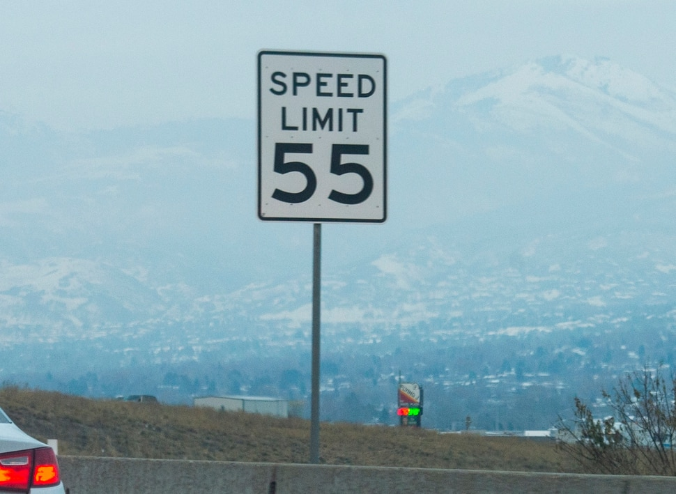 (Rick Egan | The Salt Lake Tribune) Sign on the Legacy Parkway, stating the 55 mph speed limit. Thursday, Dec. 6, 2018.
