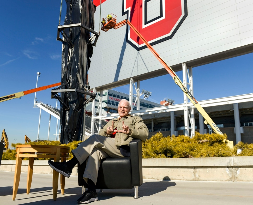 (Leah Hogsten | The Salt Lake Tribune) Spence Eccles, Chairman and CEO of George S. and Dolores Dore Eccles Foundation poses for photographs in front of University of Utah's Rice-Eccles Stadium, in honor of his father George Eccles. Workers with Layton Construction and Mountain Crane began dismantling the 2002 Winter Olympic Cauldron located on the stadium complex, Thursday, Feb. 13, 2020. As part of the stadium's expansion project, the 19-year old cauldron will be restored to its former brilliance and re-installed on the grounds of Rice-Eccles Stadium, north of the ticket office, in 2021.