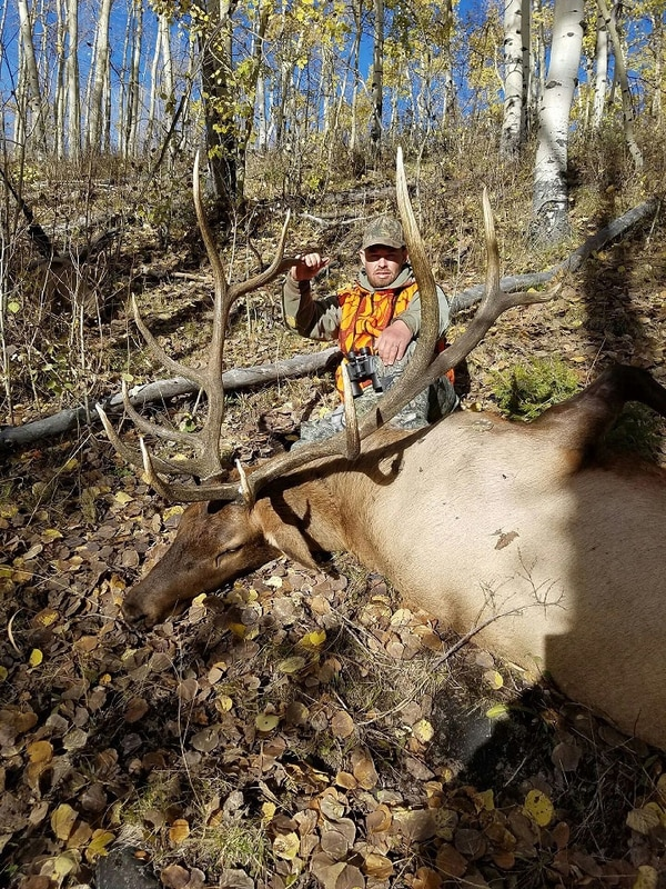 (Photo collected as evidence by the Utah Department of Wildlife Resources) William Thompson poses with a bull elk he killed during a poaching spree in fall 2016. He has pleaded guilty to a number of charges related to poaching.