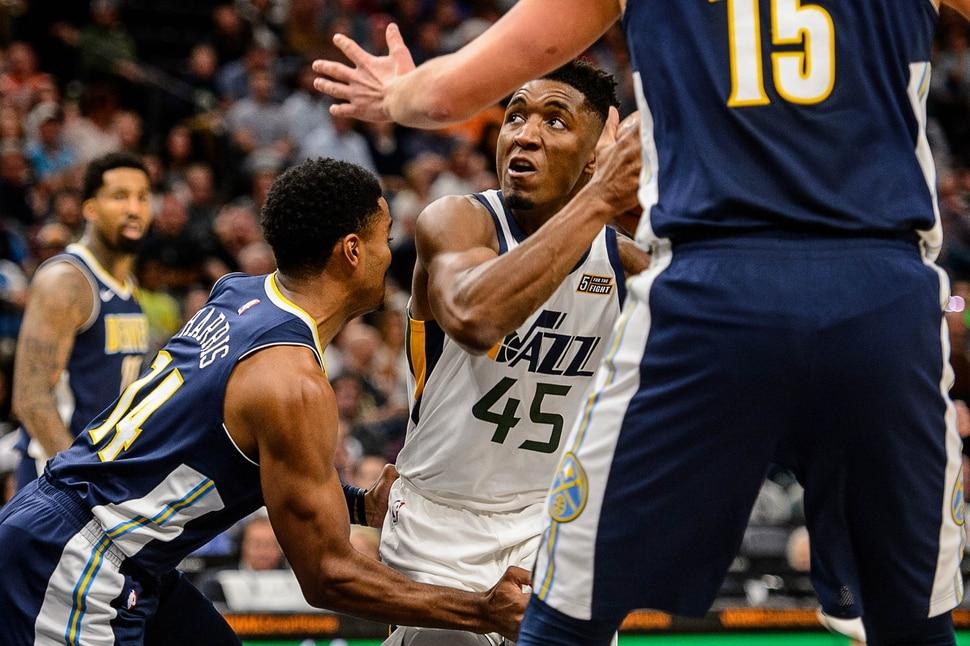(Trent Nelson | The Salt Lake Tribune) Utah Jazz guard Donovan Mitchell (45) as the Utah Jazz host the Denver Nuggets, NBA basketball in Salt Lake City, Wednesday October 18, 2017.