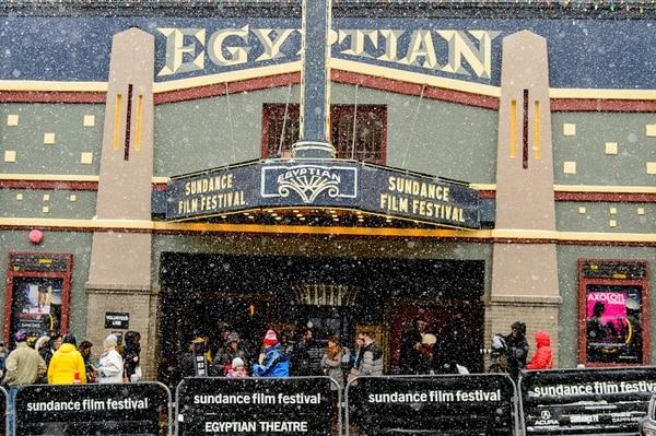 Trent Nelson | The Salt Lake Tribune Snow falls on the Egyptian Theatre on Main Street during the Sundance Film Festival in Park City, Friday January 20, 2017.